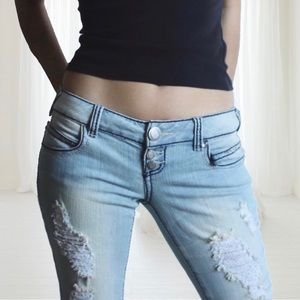Denim - Low-rise Distressed Jeans